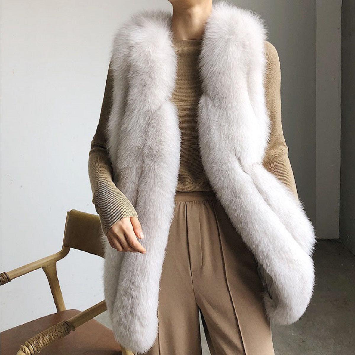 OFTBUY 2020 Gilet Manteau en fourrure réel Veste d'hiver Femmes Fox fourrure naturelle vêtement chaud épais Nouveau mode Waistwear Luxe