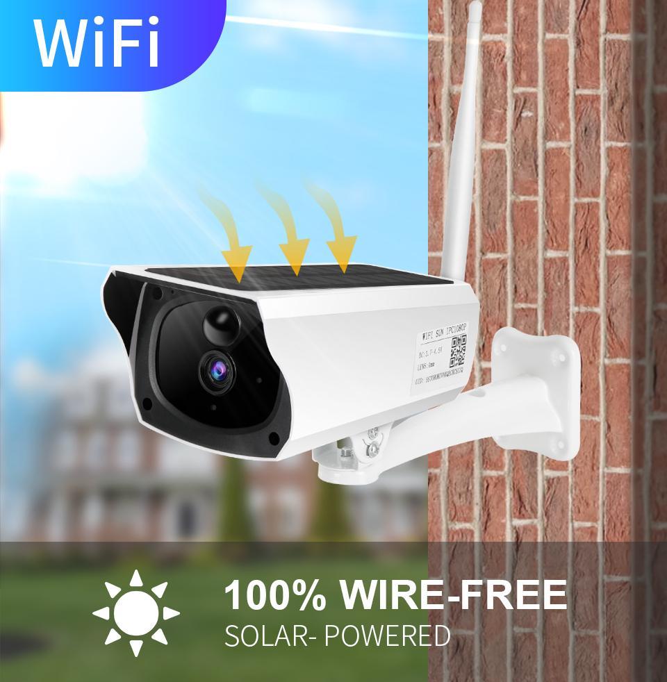 1080P HD Güneş WiFi IP kamera Açık IP67 Gece Görüş Ses PIR Alarm CCTV Pil Kamera