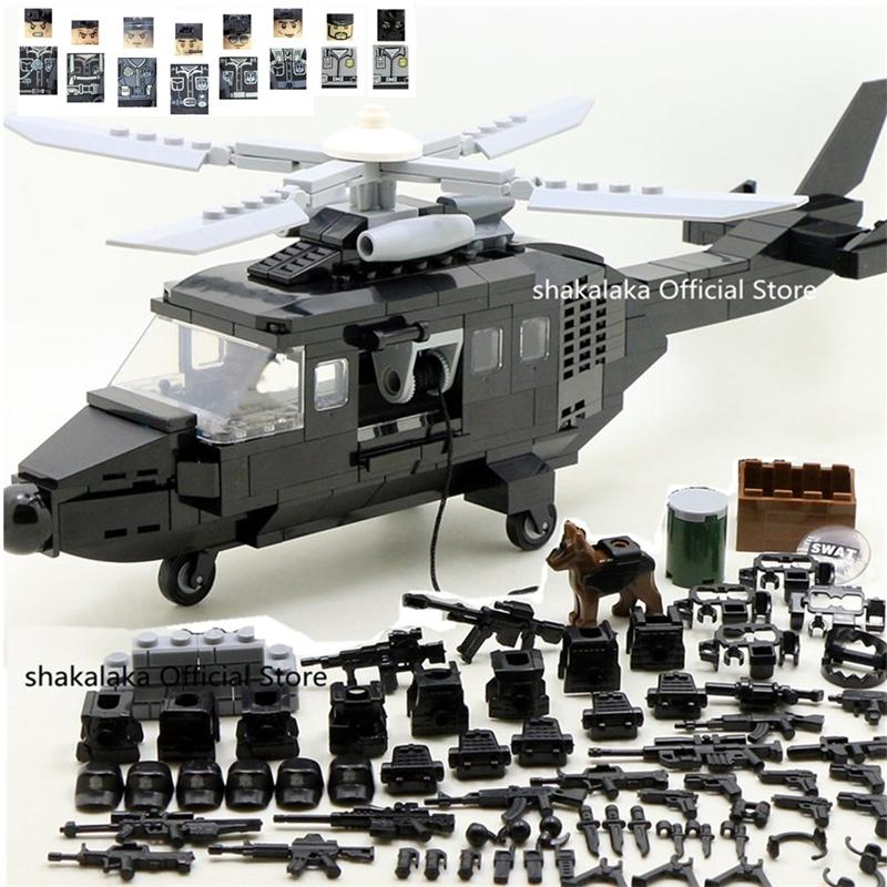 SWAT Military Army Helicopter Special Forces Team Soldier CS Building Blocks Bricks Figures Educational Gifts Toys Boys Set LJ200928