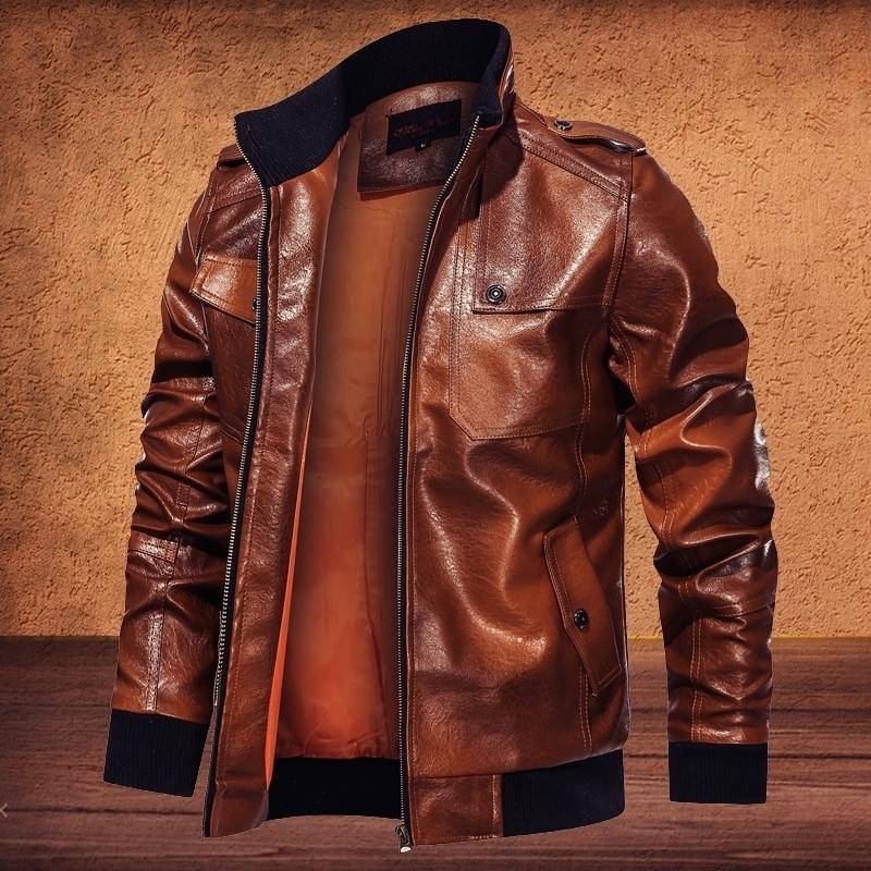 Mens inverno jaqueta escova imprimir jaquetas de couro vintage homens jaqueta bombardeiro motocicleta militar plus size casaco homens roupas moda 201114