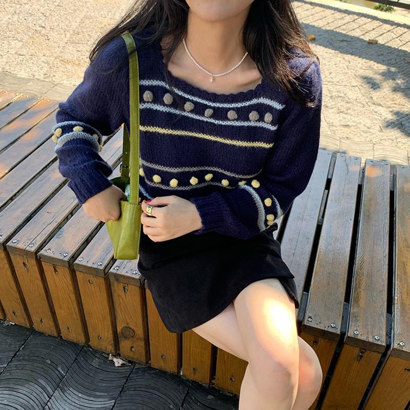 Probow 2020 elegante contraste color mujeres rayas kawaii suéter casual jumper hembra lindo knit jerseys suéteres vintage Tops