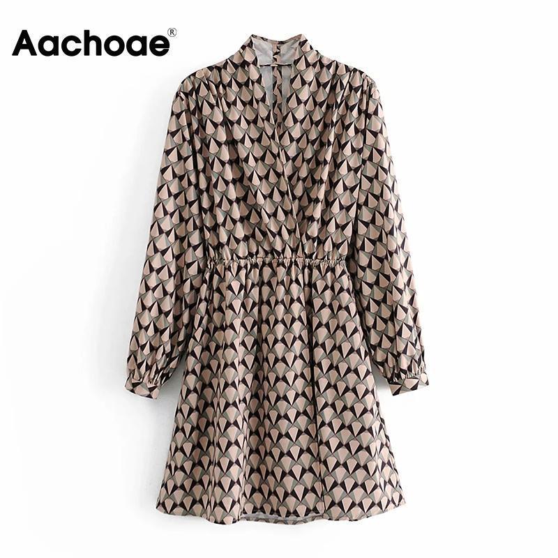 Aachoee Geometric Imprimir Uma Linha Vestido Vintage Mulheres Elegante V Neck Elastic Cintura Vestidos Feminino Manga Longa Partido Mini Vestido