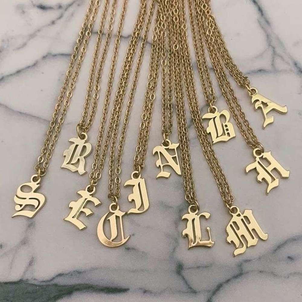 Мода Английский Письмо Подвеска Простое Новое Модное Женское Ожерелье Прямая цепь шеи