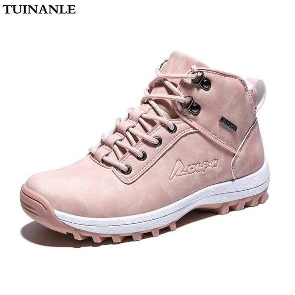 Mujeres BootstuinaNle Mujeres Tobillo Nieve Boot Winter Cálido Plush Cuñas Caucho Plataforma Faux Suede Lace Up Sexy Pink Ladies Zapatos Botas Mujer