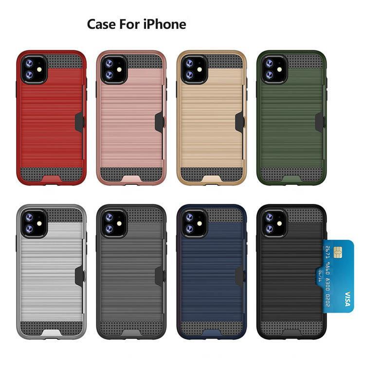 Creativo regalo Spazzolato Phone Slot Slot Slot Mobile Case PC TPU Shell Brush-Finish Cover per iPhone 7 8plus xr x 11 Pro max