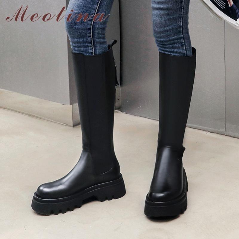Meotina Uzun Çizmeler Kadın Ayakkabı Hakiki Deri Platformu Yüksek Topuk Diz Yüksek Çizmeler Blok Topuklu Fermuar Bayanlar Sonbahar Kış