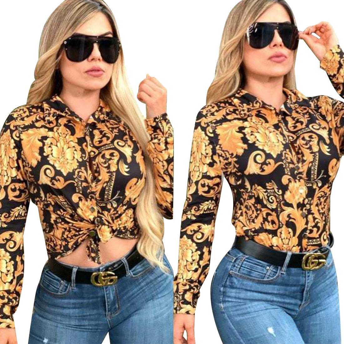 여성용 블라우스 셔츠 레이디 인쇄 느슨한 숙 녀 셔츠 드레스 긴 소매 여성 의류 레이디 패션 드레스 S-2XL