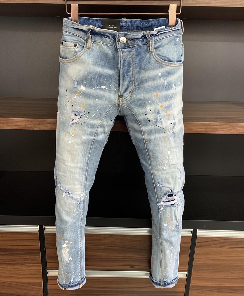 Italienische Mode Europäische und amerikanische Männer Lässige Jeans, High-End gewaschen, handpoliert, Qualität optimiert DA368