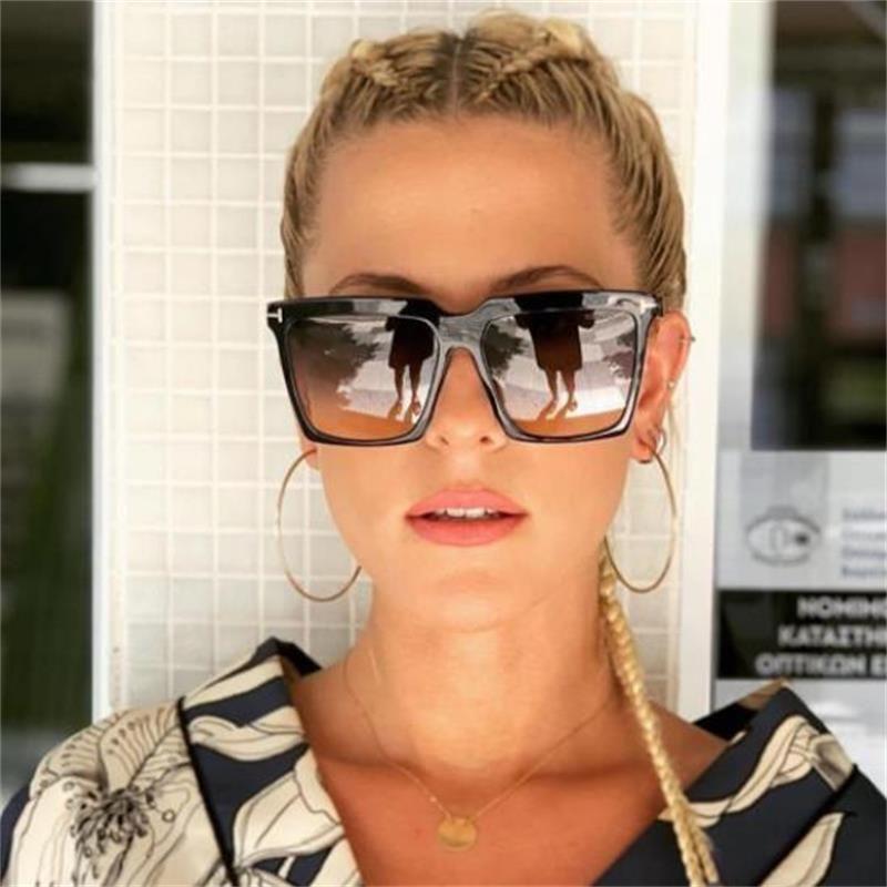 Güneş Gözlüğü 2021 Vintgae Yeşil Turuncu Lens Kadın Erkek Lüks Tasarımcı Boy Kare Güneş Gözlükleri Ünlü Shades T Gözlük