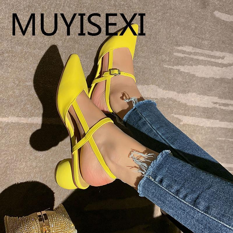 Slingbacks Chaussures Femmes Pompes 4cm talon ronde dames sexy bout pointu du travail de bureau Chaussures Blanc Jaune taille plus LLI06 MUYISEXI