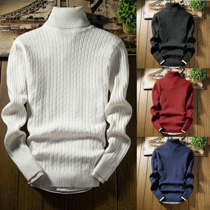 019 Новая осень зима мужская свитер мужская водолазка сплошной цветной свитер Slim Fit Brand вязаные пуловеры1