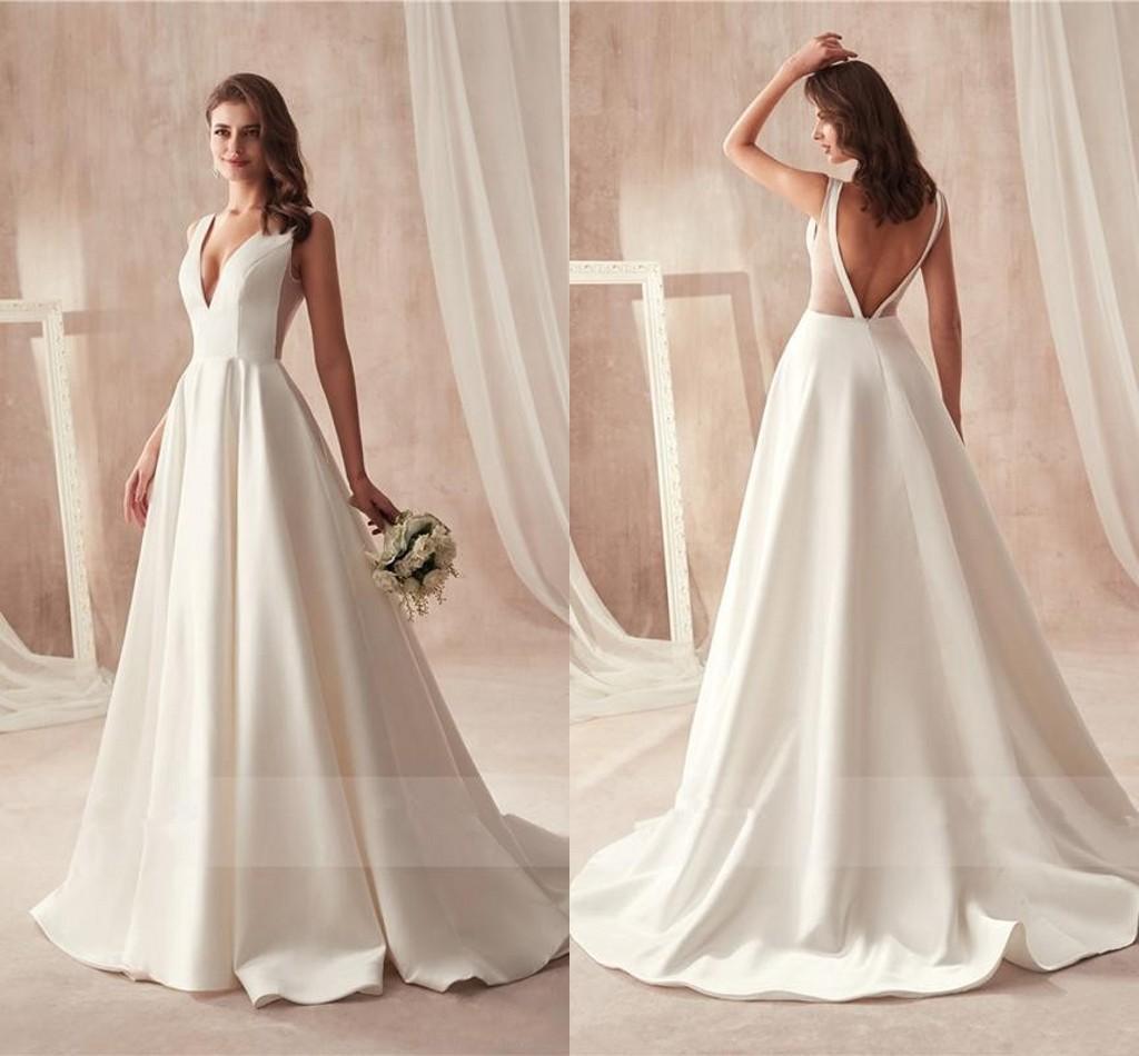 Sexy Cheap taille des robes de mariage avec poche satin Décolleté en V dos ouvert étage longueur robe de mariée robes de mariée Robes de mariée