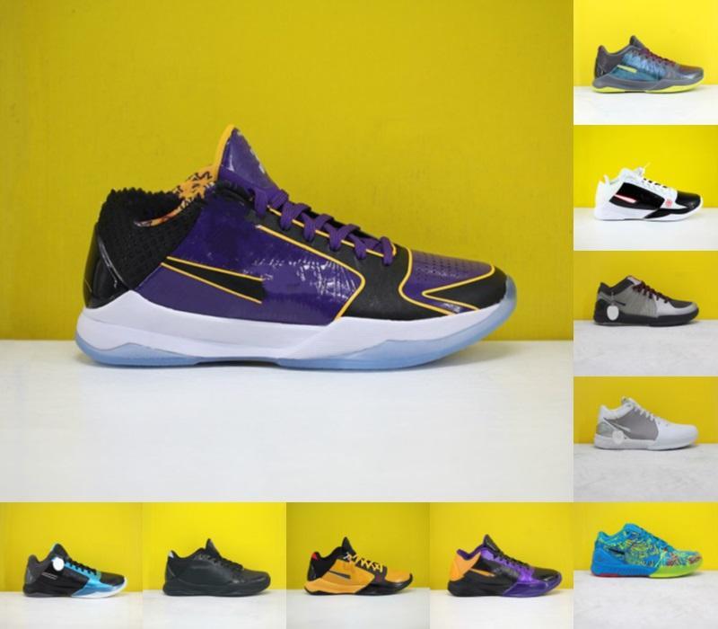 2020 Sıcak Satış Yeni ZK5 KB5 5 S Bruce Lee Protro Basketbol Ayakkabıları 5x Champ Lakers Mor Sarı Altın 2 K20 Kaos Mamba Zoom ZK 5 V Erkek Sneakers