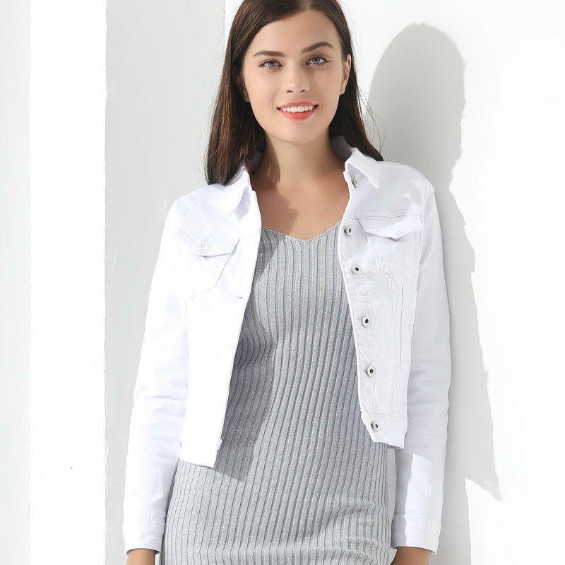 Beyaz Jean Ceket Kadın Bayan Ceketler Ve Mont Jean Ince Kısa Ceket Ceket Feminina Ince Üst Dış Giyim Kot Kadın Ceket 201026