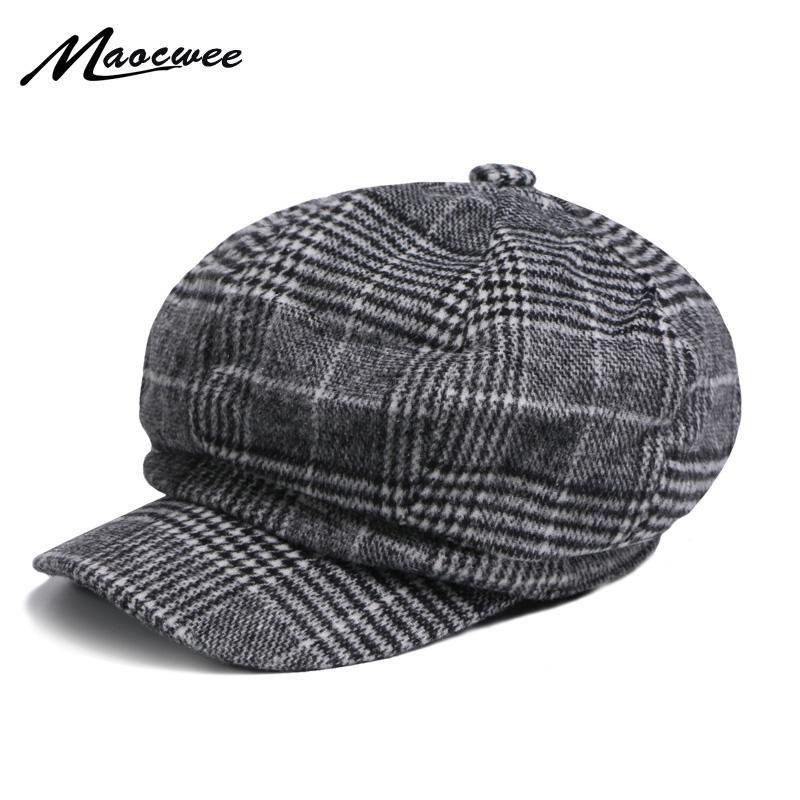 Berets Spring and Autumn Ladies Octagonal Hat Trend Literacki Malarz Beret Cap W Wełna Szkocja