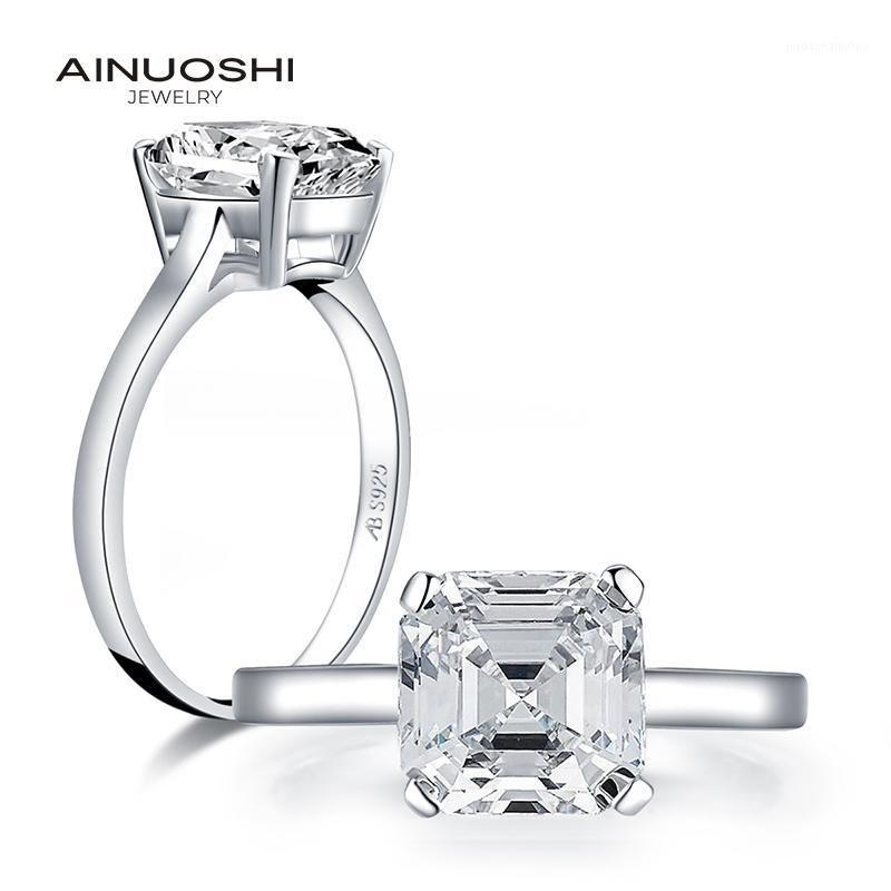 Clusterringe Ainuoshi 925 Sterling Silber 3.0 ct asserschnitt Solitaire Ring Engagement Simulierte Diamant Frauen Hochzeit Schmuck1