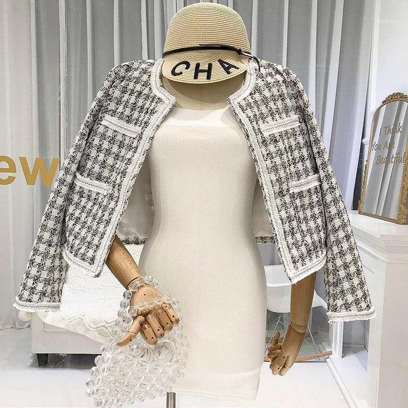 2020 летний новый ретро плед элегантный твидовый костюм короткое пальто1