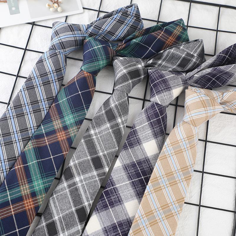 Marka Lüks Plaid Desen Netie Casual Unisex Tie Koleji Stil Günlük Giyim Cravat Giyim Aksesuar Pamuk Neties