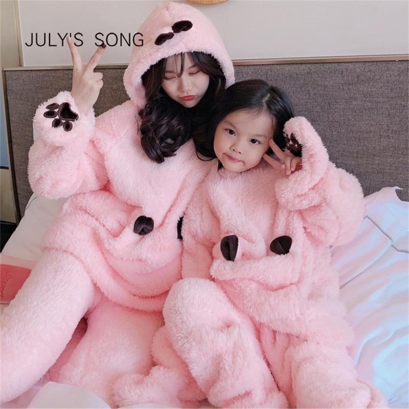 Temmuz Şarkı Flanel Karikatür Kadın Pijama Set Sonbahar Kış Kalın Sıcak Boy Mercan Polar Ebeveyn-Çocuk Pijama Homewear 201031