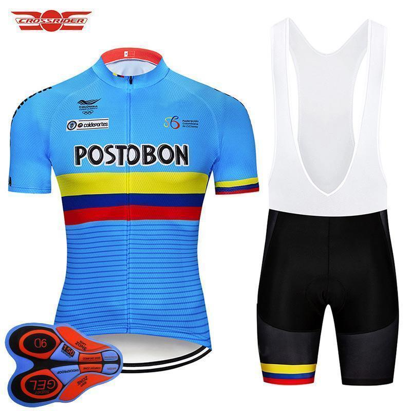 2020 Pro Team Colombia Cycling Jersey Set Mtb Uniform Bike Clothing Bicycle Wear Ropa Ciclismo Mens Short Maillot Culotte
