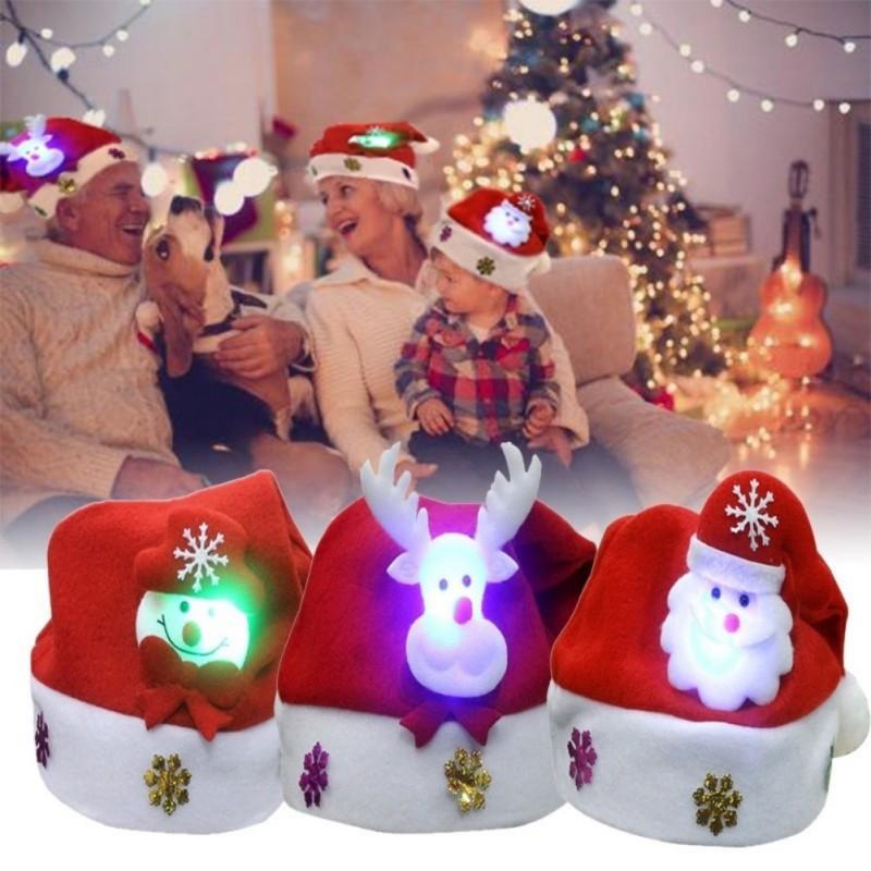 Kids Adult LED Christmas Hat Baby Boy Girls Santa Claus Reindeer Snowman Xmas Gifts Cap Christmas Tree Beanie Light Up Hat