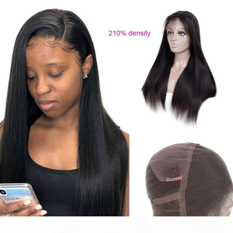 Brezilyalı Virgin Saç 210% Yoğunluk Tam Dantel Peruk İpeksi Düz Vücut Dalga 210% Yoğunluk Naturla Renk Tam Dantel Peruk 12-30inch