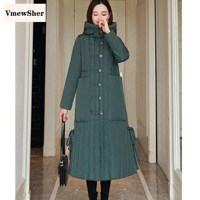 Женщины Parkas Vmewsher Длинное пальто Женщины Зимние Пальто Куртки Mujer 2021 Полоса Parka Куртка Дамы Элегантная Одежда Вершина1