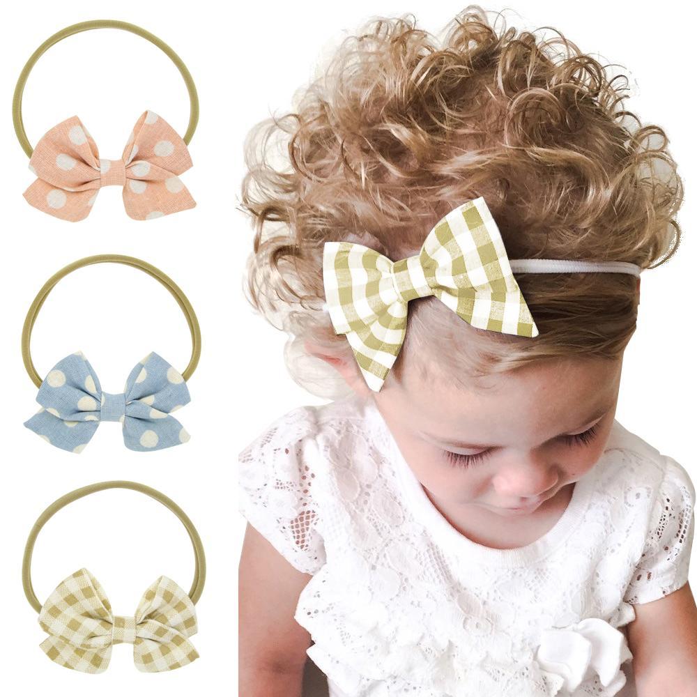 Baby Girls Headbands Bow Cotton Jute Polka Dot Grid Headband Children Kids Hair Accessories Nylon Bowknot Hairbands Headwear for toddler KHA520
