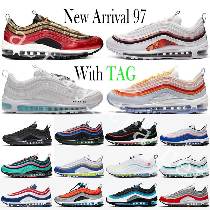 New Arrival 97 Black Bullet Aurora Green Reflective 97s Bred Triple White Mens Women Running Shoes Sean Wotherspoon Mosaic Sports Sneakers