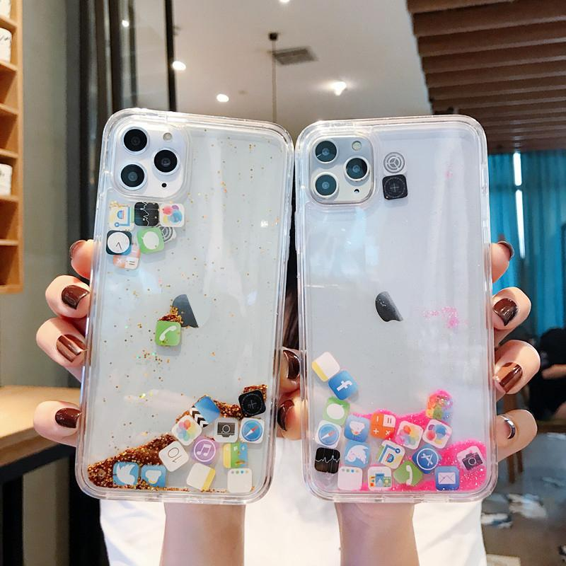 Liquid Glitter Quicksand Aménagée IPhone 11 Pro 12 Mini X XS MAX XR Cover Silver Gold Transparent pour SE 2020 souple Coque