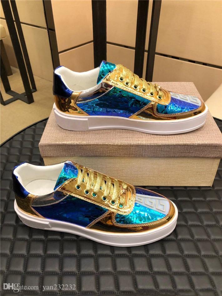 Özel patlama modelleri, klasik modeller, zarif mavi ölçekli dikiş, altın ölçekli erkek rahat ayakkabılar, moda benzersiz boyut: 36-45