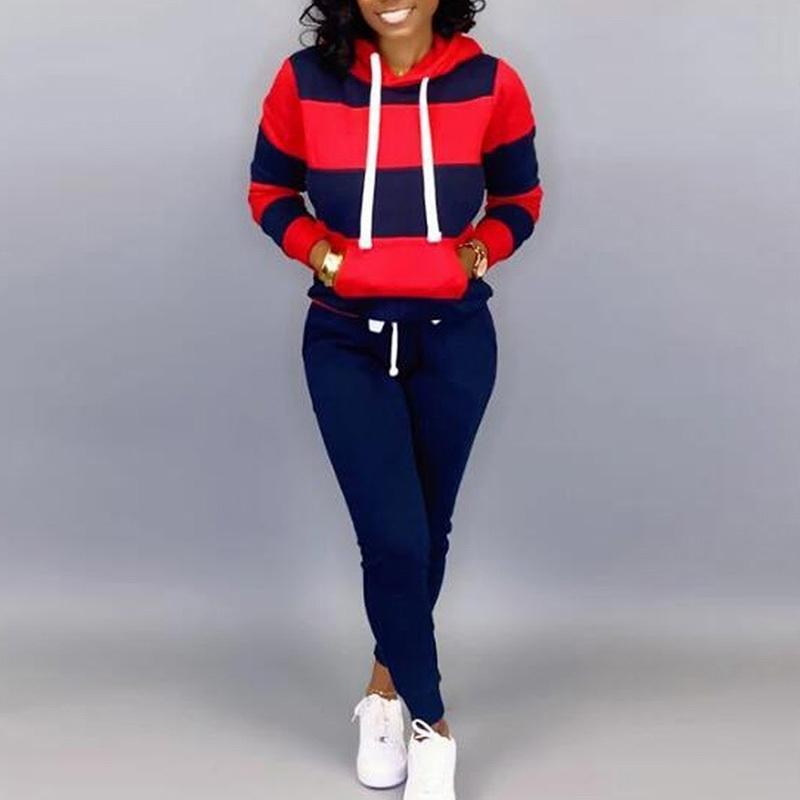 Весна осень 2 шт пот набор толстовки толстовки толстовки гарем брюки повседневный спортивный костюм для женщин полосатый трексуитный костюмы костюмы 201112