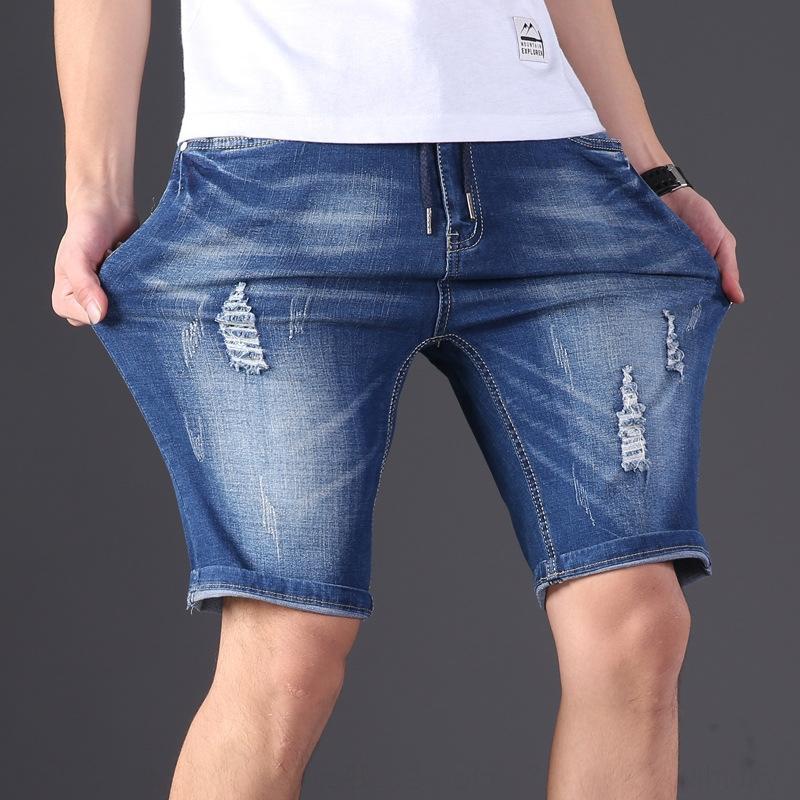 Wnz8K 5701 sottili Pantaloncini moda maschile jeans di grandi dimensioni casuale del foro grasso sciolto pantaloni stretch L-6XL uomini e pantaloncini 5MKWH