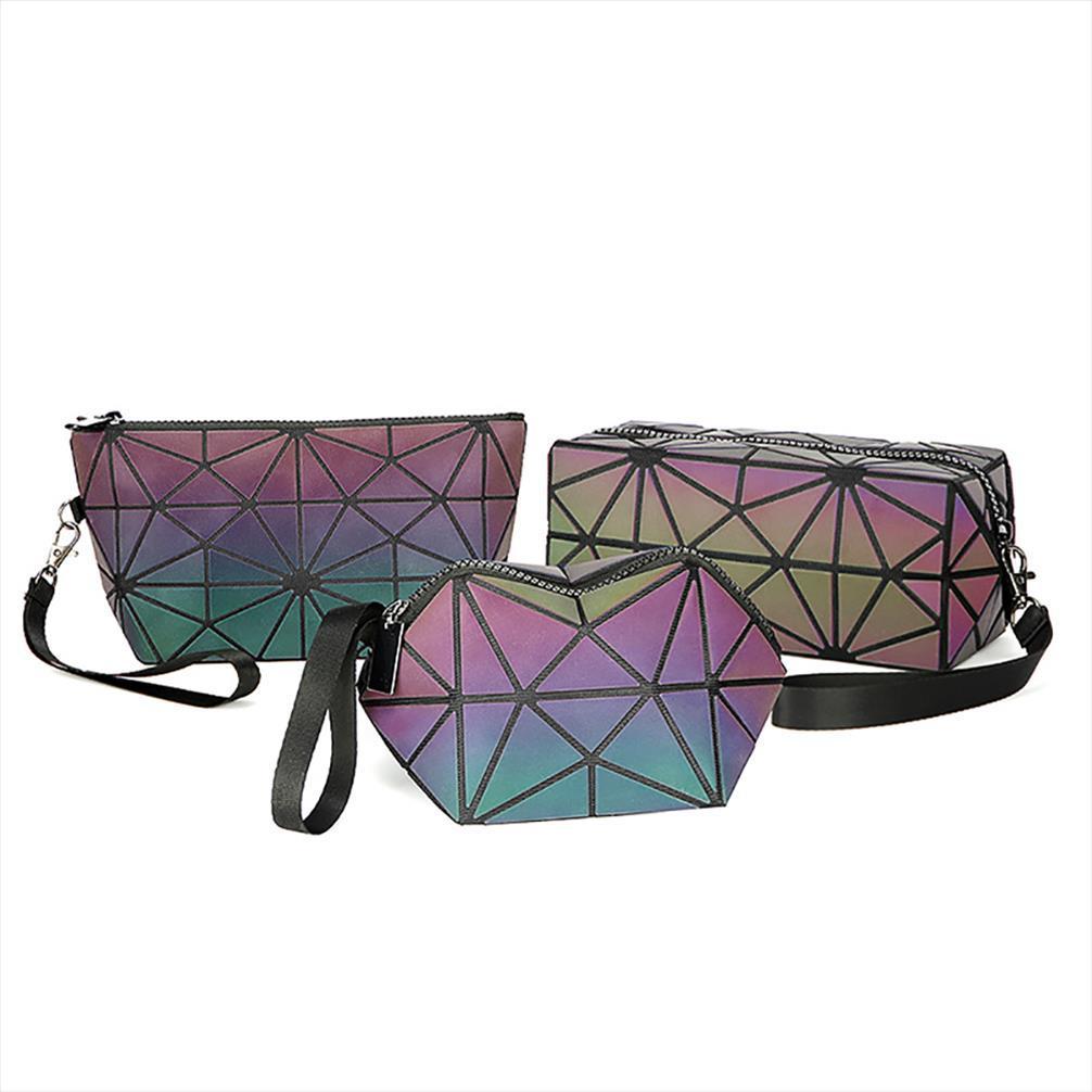 Luminous Makeup Bag Lattice Design Geometric Bag Unique Cell Phone Purse Handbag Zipper Makeup Case Pouch Toiletry Bags