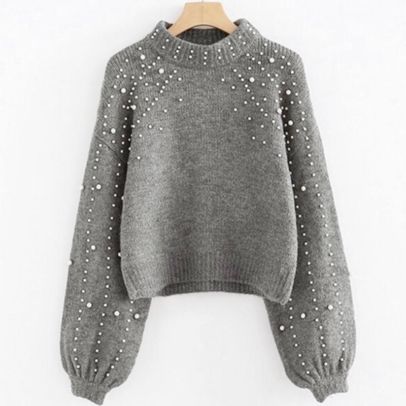 Women's Sweaters Casual Pullover Sweater Thick Needle Long Sleeve O-neck Autumn Winter Loose Pearl