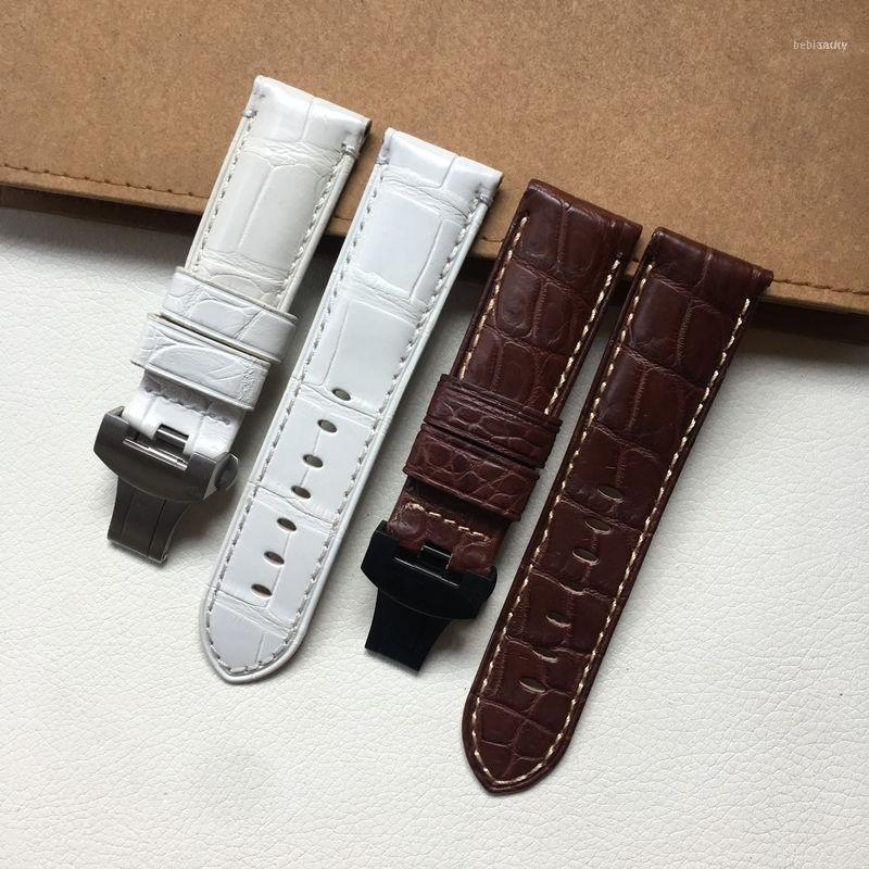Guarda Bands Alligator Leather Strap Strap Uomo 1950 Accessori Cabbia a farfalla di alta qualità 24mm11