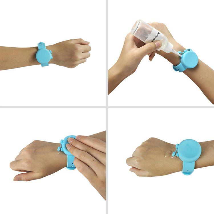 Livraison gratuite gel silicone Désinfectant pour les mains Porte-Wrap Bracelet Wristband Désinfectant pour les mains bracelets en silicone Sanitizer Titulaire FWD1310