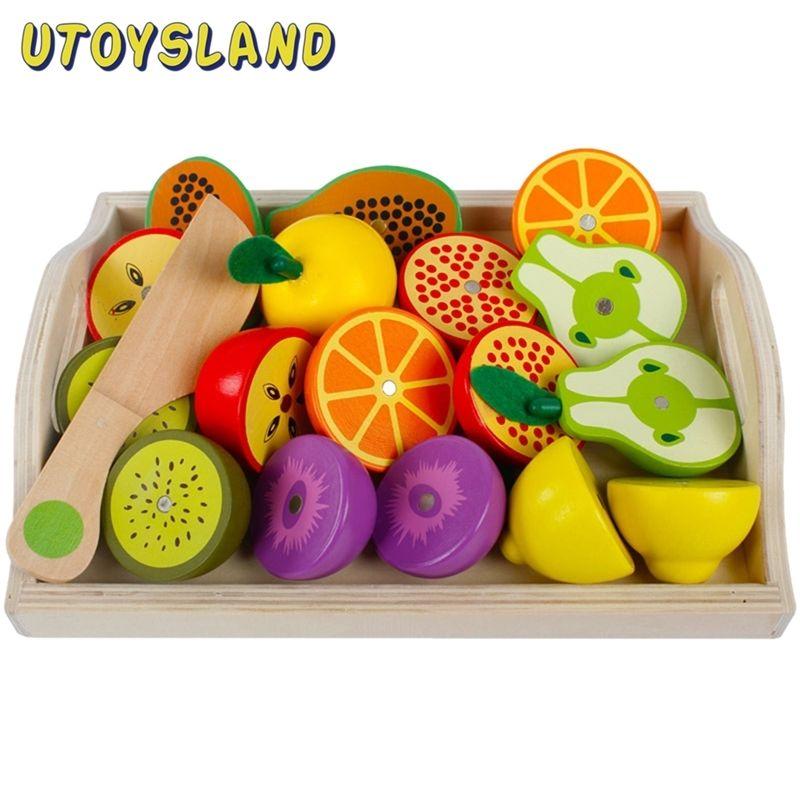 Магнитные деревянные фрукты и овощная комбинированная режущая игрушка набор детей Play Preteate Simulation Playset Y200428