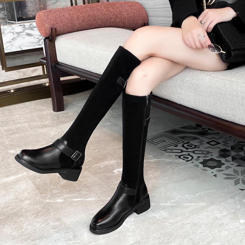 Femmes Boots Bottes 2020 Hiver Autunm High Talons Chaussures Noir sur les Bottes au genou Femmes Bottes High Boot Cuisine Cuisine 0432971