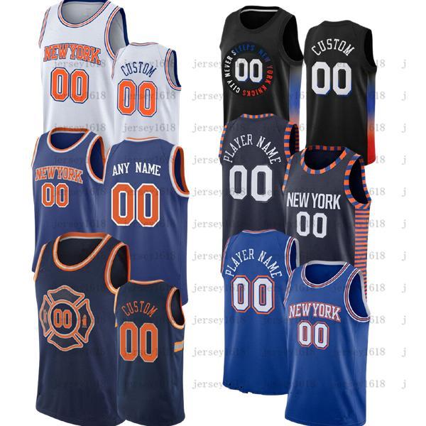 Özel erkek RJ 9 Barrett Derrick 4 Rose 1 Obi Toppin Jersey Alec 18 Burks Julius 30 Randle Mitchell 23 Robinson Frank 11 Ntilikina Şehir Basketbol Formaları