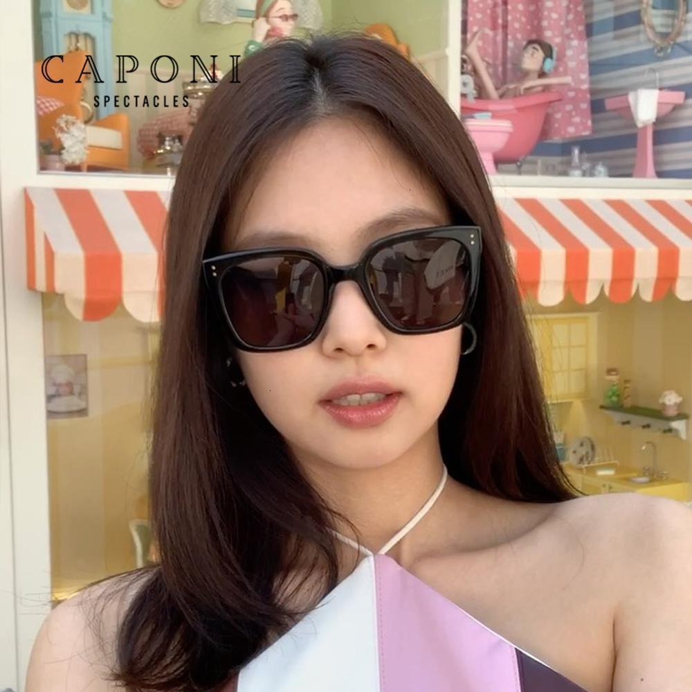 Caponi Gentle Jennie Kuku 01 선글라스 여성 2020 새로운 대형 태양 안경 눈 보호 UV 레이 패션 레트로 음영 CP7453