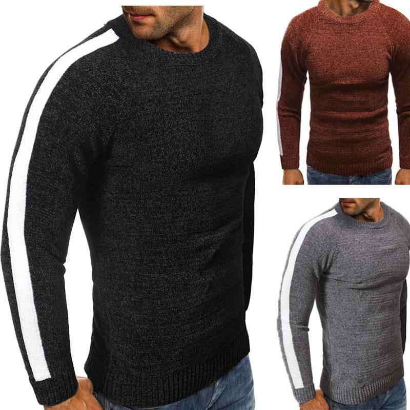 남성의 Y에 대한 스트라이프 O-목 풀오버 그레이 블랙 브라운 겨울 코트 두꺼운 느슨한 높은 패션 니트 스웨터