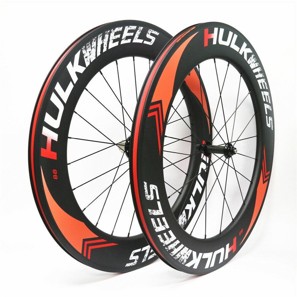 Hulkwheels 700c roda de carbono 88mm powerway r51 r51 reta tração estrada bicicleta rodas de bicicleta de estrada de carbono