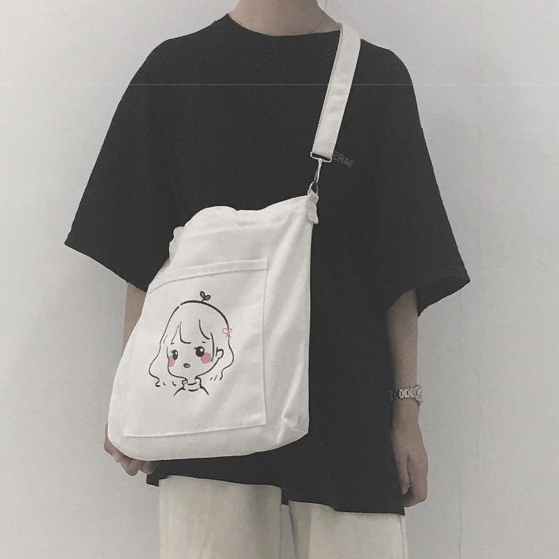 Shopping Bag Art Oil Painting Graphic Canvas Shoulder Bag Cute Female Harajuku Ulzzang Grunge Tote Shopper