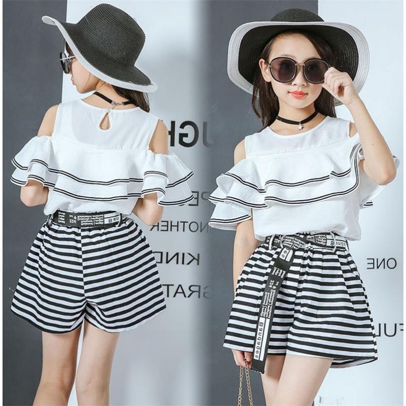 2020 New Summer Filles Sets Deux Pièces Enfants Vêtements Set Vêtements enfants T-shirt Pantalons 4 5 6 7 8 9 10 11 12 13 14 YearsX1019