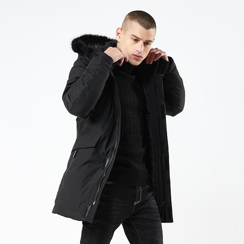 Men Winter Down Jacket Fur Collar Long Thick Warm Cotton Casual Parkas Coat Men Pockets Outwear Waterproof Jacket Down Parka 201022