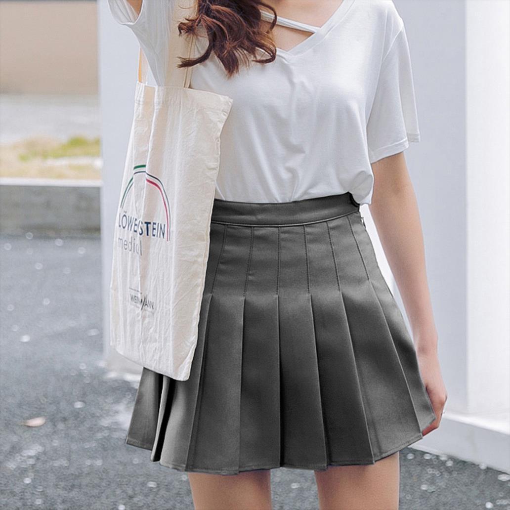 Plissee Satin-Rosa-Rock-Sommer-Frauen hohe Taille gefalteter Minirock Art und Weise dünne Taillen-beiläufiger Tennis Röcke Schule Urlaub