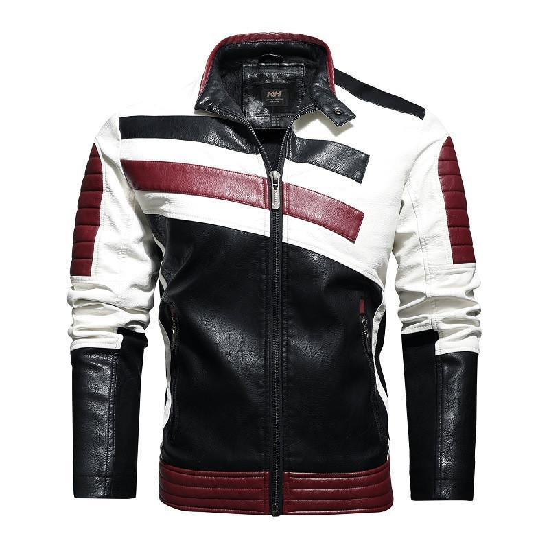 Mens конструктора осень Зимняя куртка с Velvet Теплая куртка кожаная Hip Hop мотоцикла Matching цвета PU Куртка Вышитые Плюс Размер 4XL
