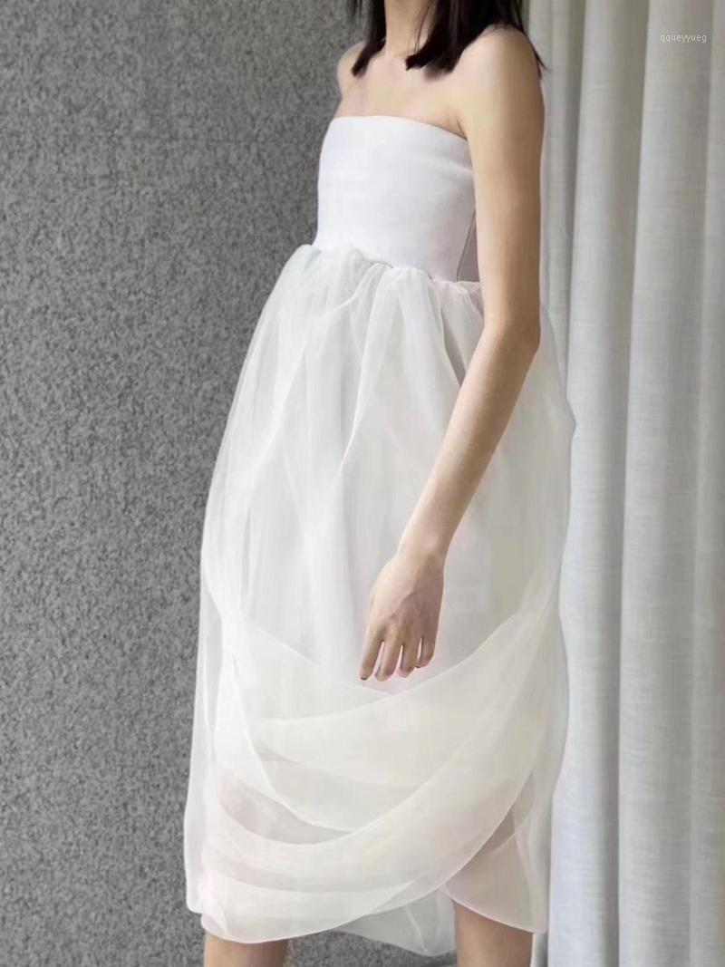 sexy new women sheer mesh strapless dress female fashion white dresses ddxgz21