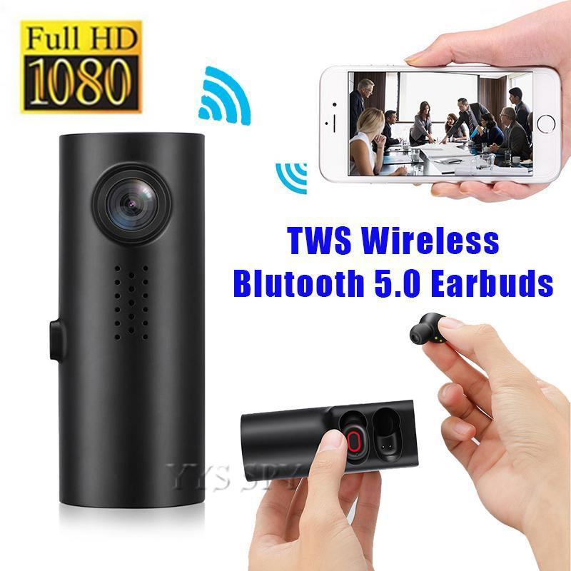 1080P 풀 HD 미니 자동차 DVR 카메라 자동차 Dashcam 캠코더 디지털 비디오 운전 레코더 무선 이어폰 TWS 이어 버드 블루투스